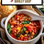 Vegetable Barley Soup pin with text overlay