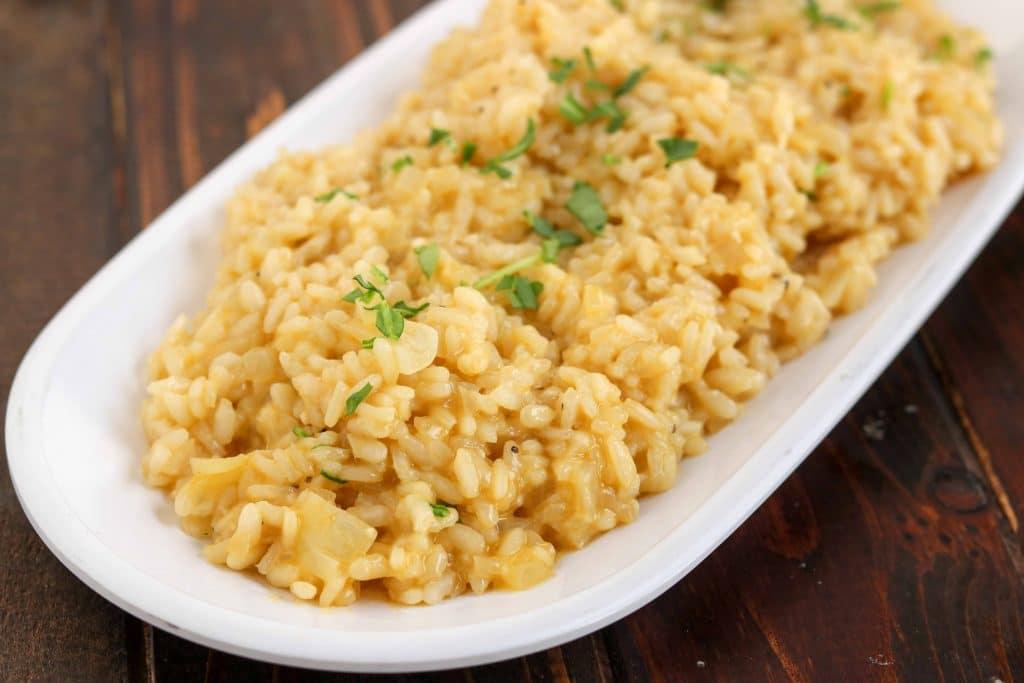 Garlic Parmesan Risotto - white serving dish, horizontal