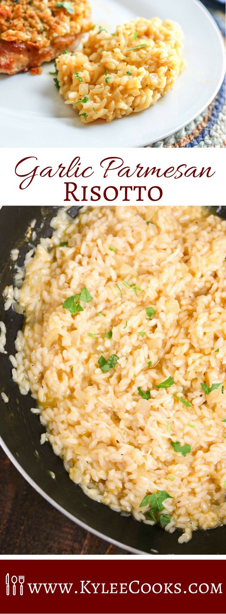 Risotto in 17-25 minutes?! I'm in! Garlic Parmesan Risotto may be the star of the show we call 'dinner' in this easy side - it's sure to please the whole family! #risotto #parmesan #sidedish #recipe #kyleecooks