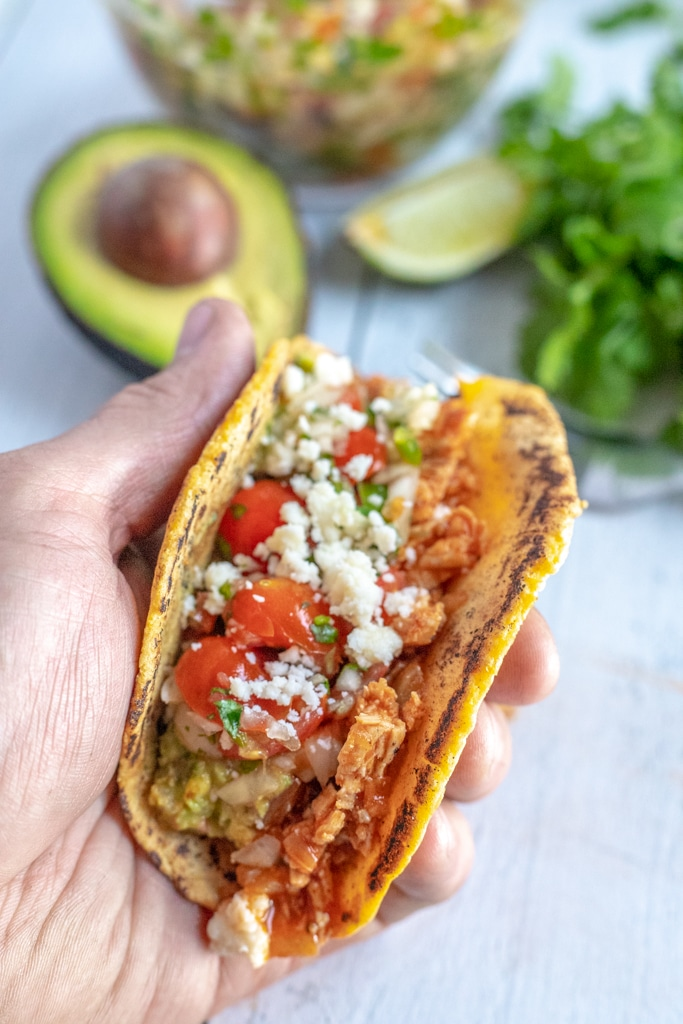 hand holding chicken soft taco with avocado, lime and cilantro