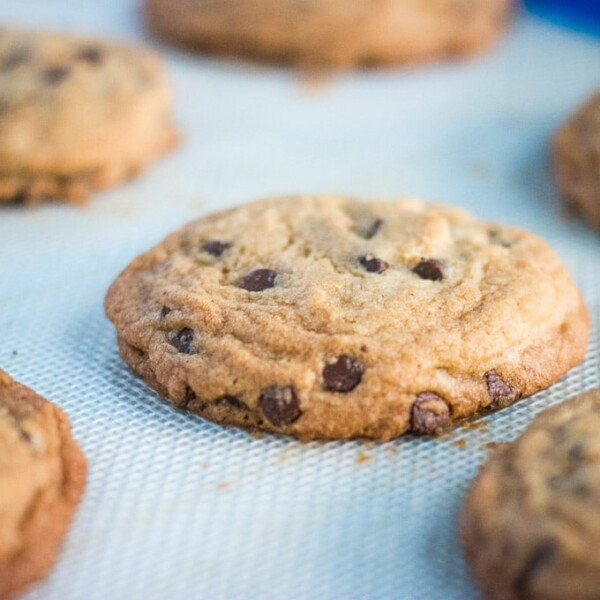 chocolate chip cookies on a baking mat