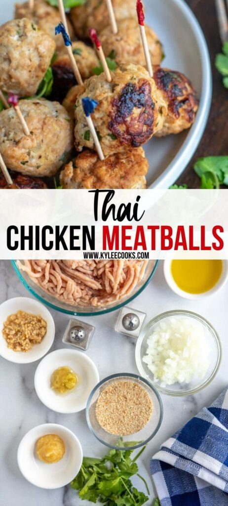 thai chicken meatballs pin with text overlay