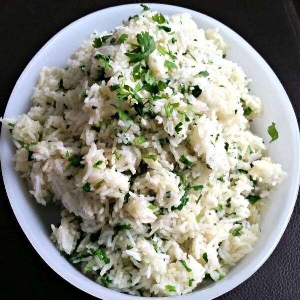 cilantro lime rice in a white dish