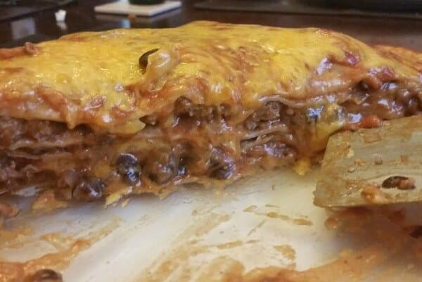 "Beef & Black Bean Enchilada ""Pie"""