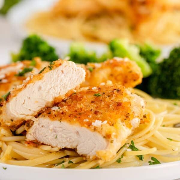 cut open chicken tenders on a white plate
