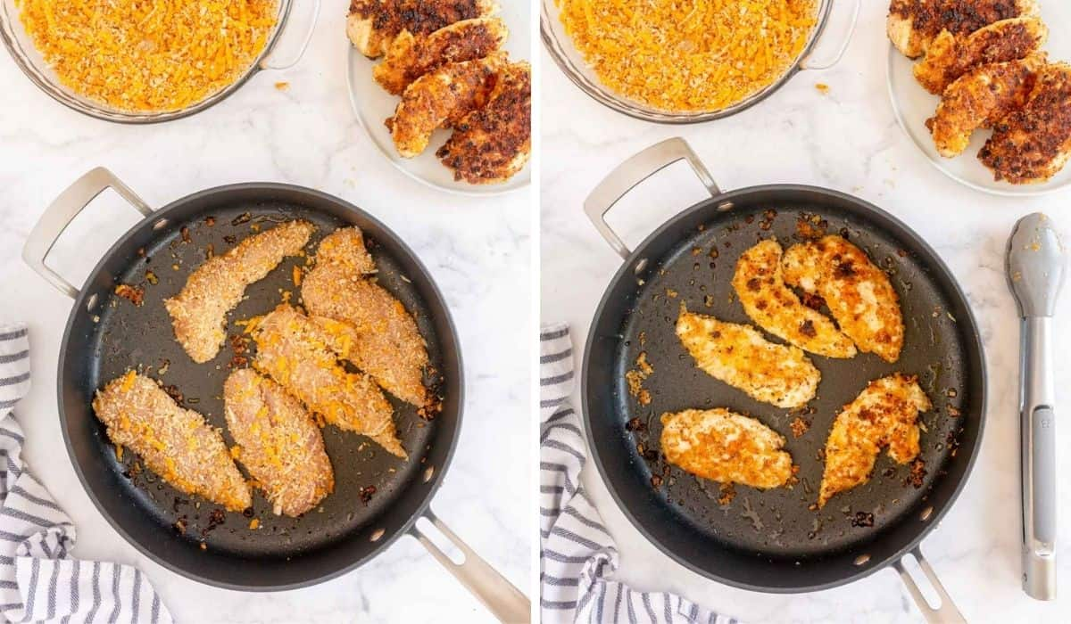 2 pictures showing how to pan fry chicken tenders