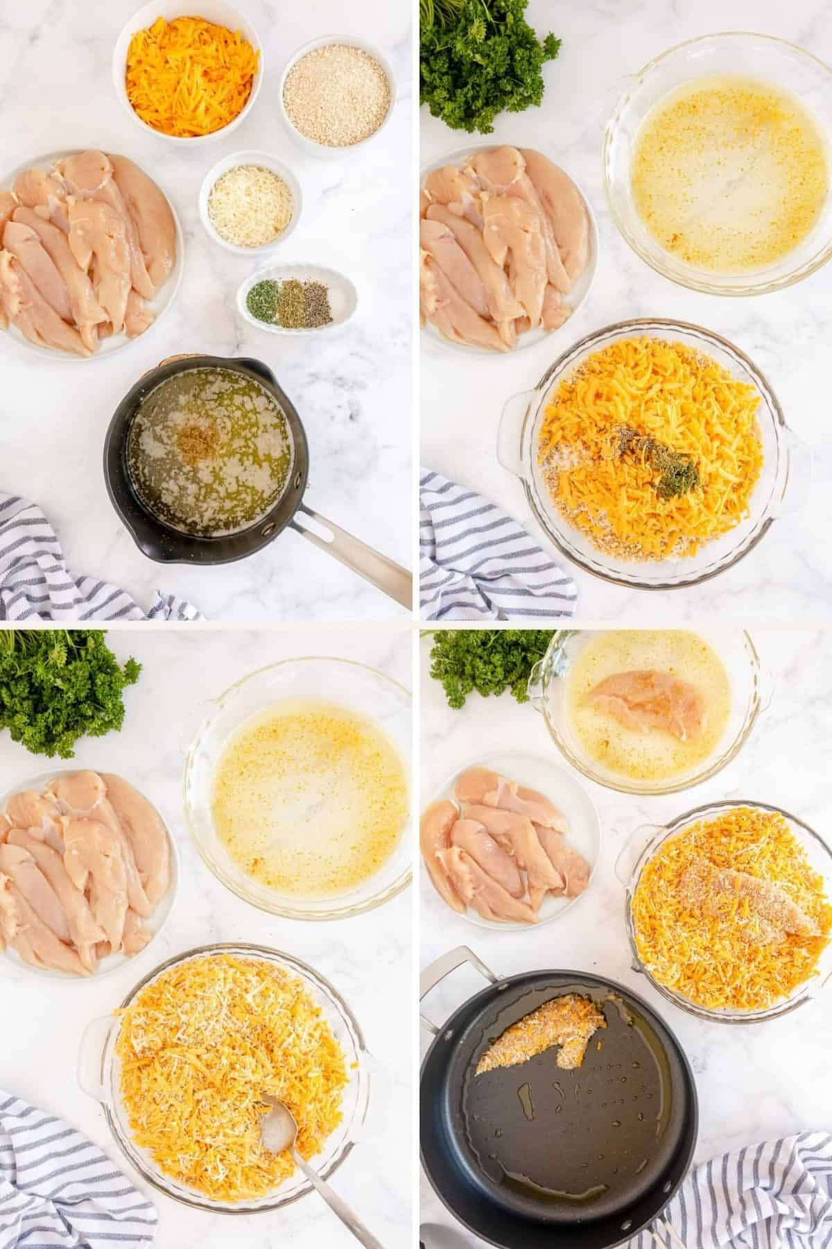 4 pictures showing how to make breading for chicken tenders