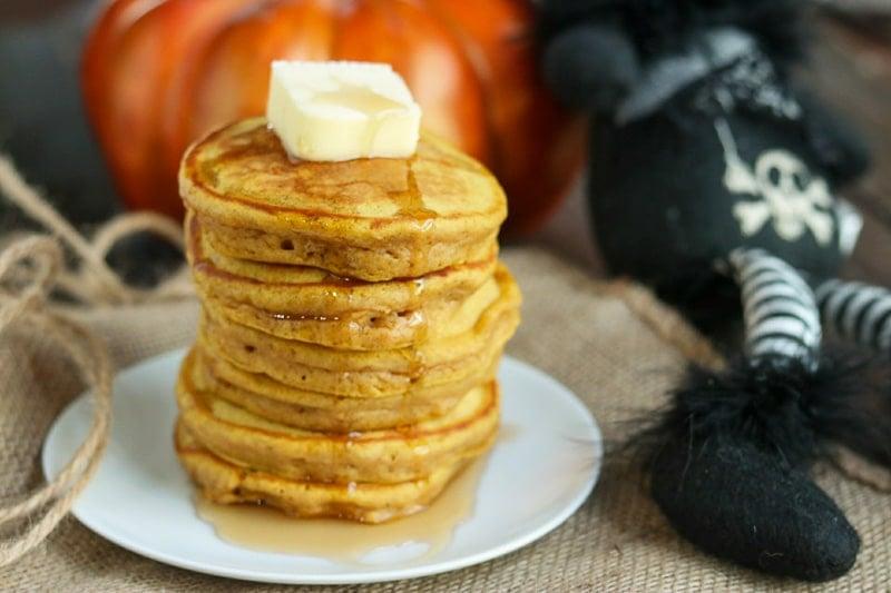 pumpkin spice pancakes, horizontal with black cat and pumpkin