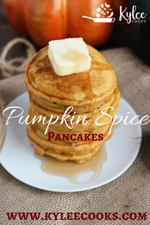 pumpkin spice pancakes, vertical with pumpkin and graphics