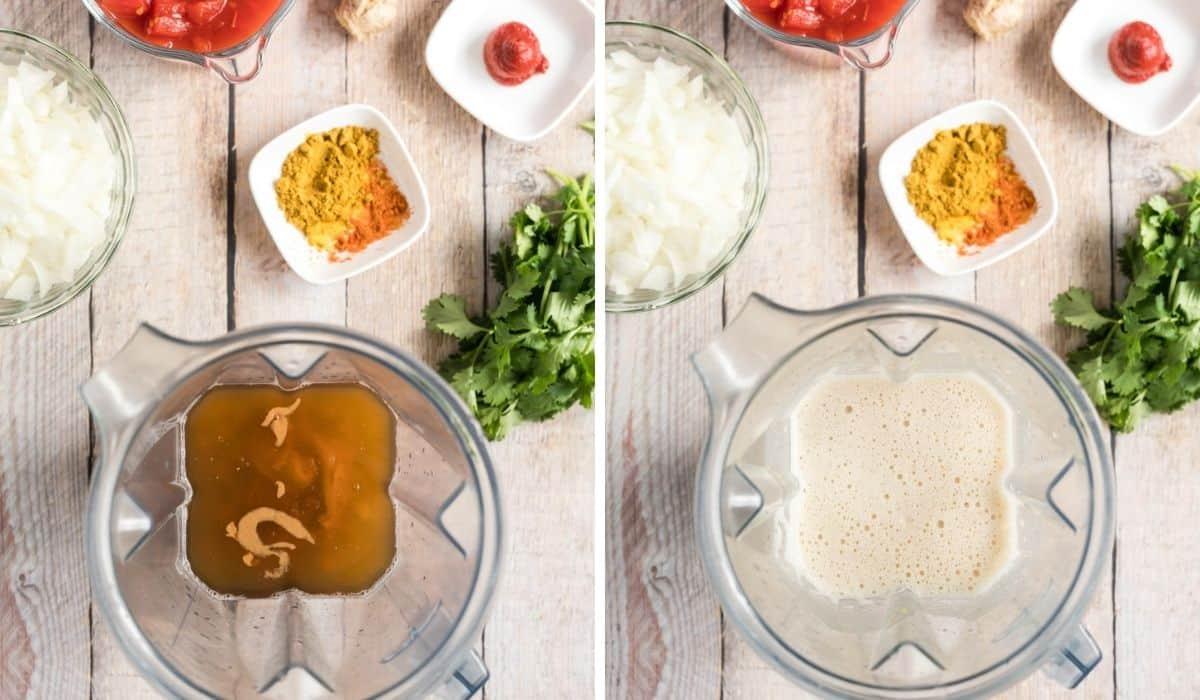 blending ingredients for peanut soup