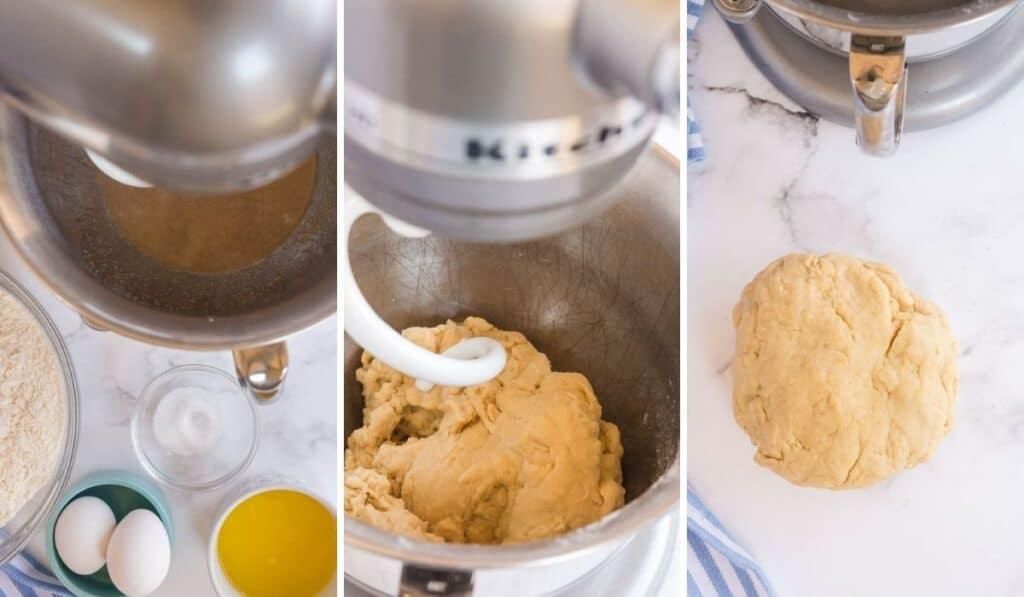 making dough for cinnamon rolls