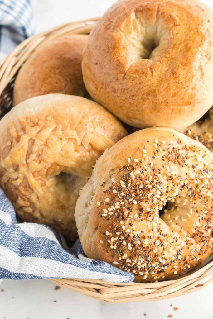 homemade bagels in a basket