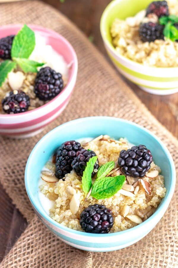 quinoa breakfast bowls with blackberries in colorful bowls