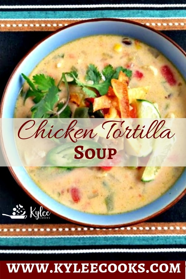 A hearty and warming creamy chicken tortilla soup with just the right amount of spice, blended with cheese, topped off with jalapenos, cilantro and crispy tortilla strips #soup #creamy #recipe #chicken #dinner