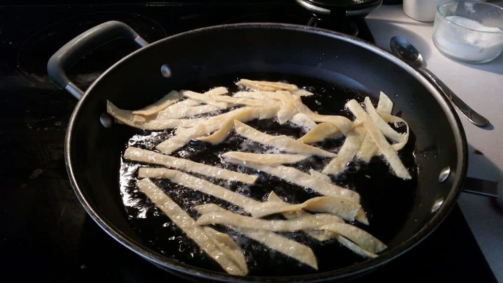 frying tortilla strips for soup