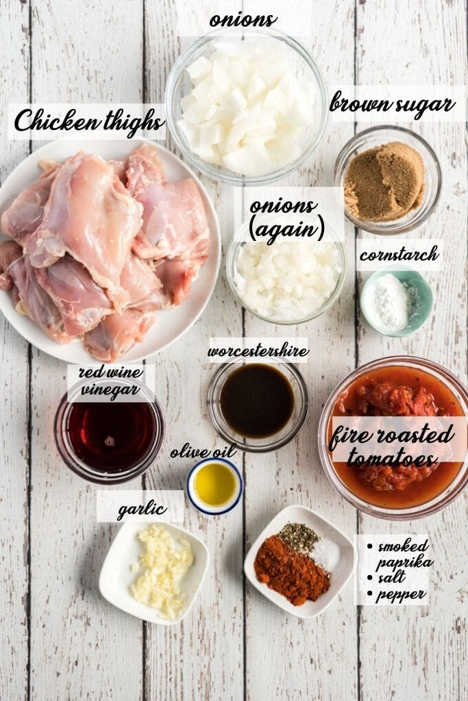 crockpot bbq chicken ingredients laid out