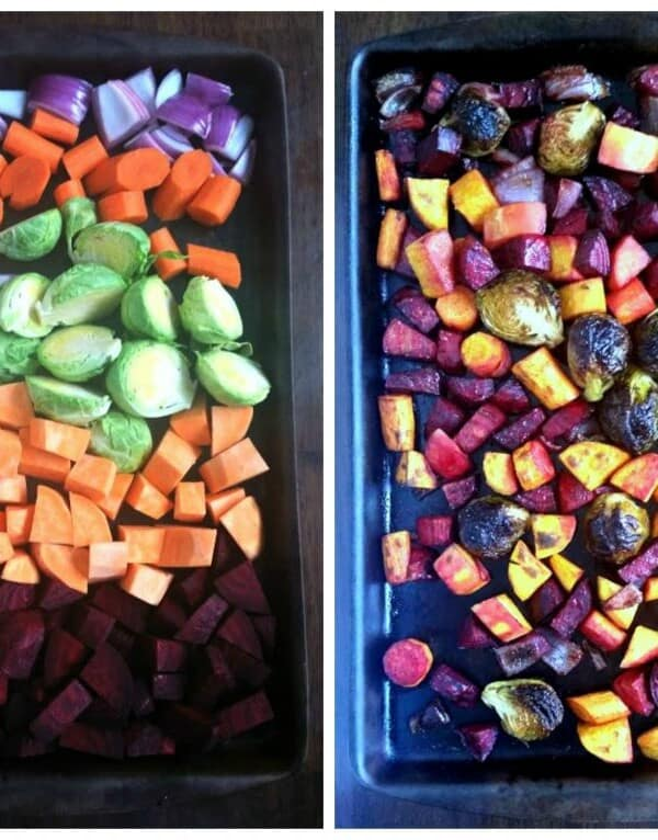 side by side of uncooked and cooked roasted vegetables