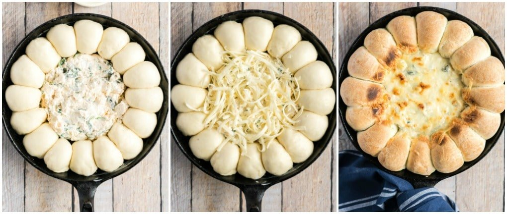 assembling the hot spinach artichoke dip in skillet
