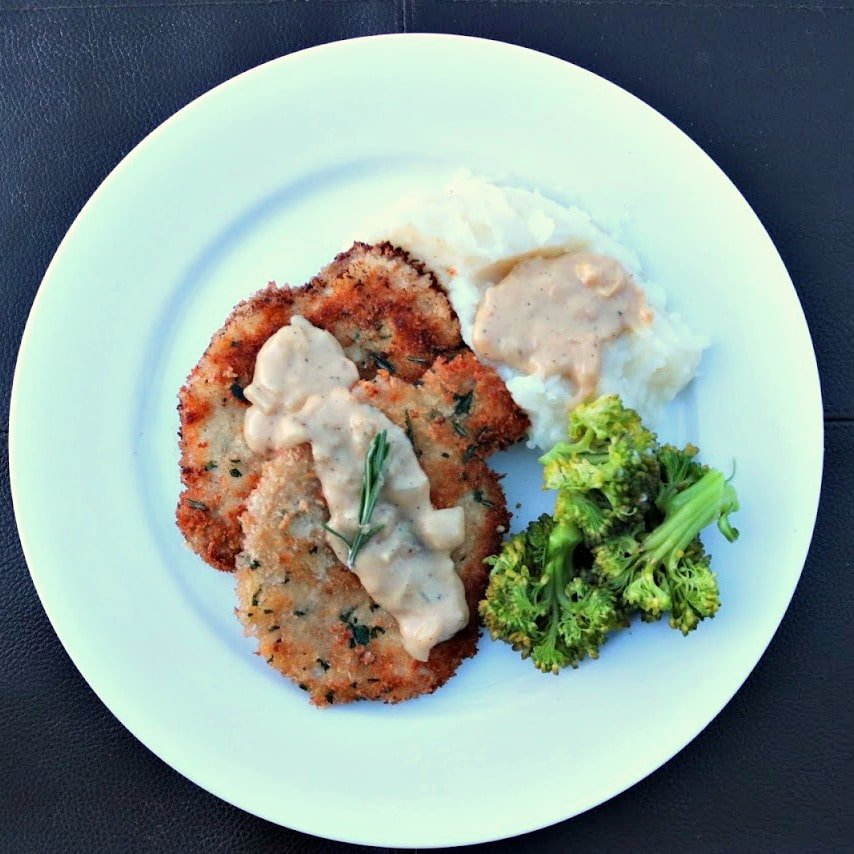 Herb Crusted Pork with Caramelized Onion Gravy
