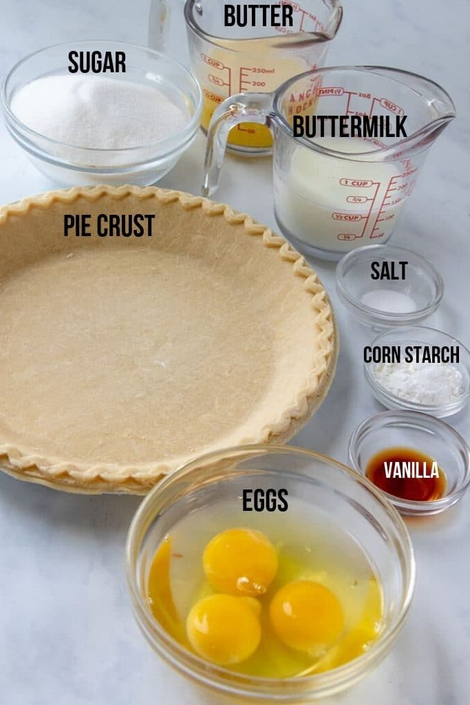 Buttermilk Pie ingredients laid out and labeled