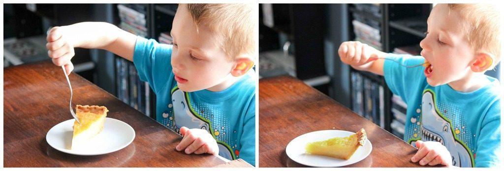 Little boy eating buttermilk pie