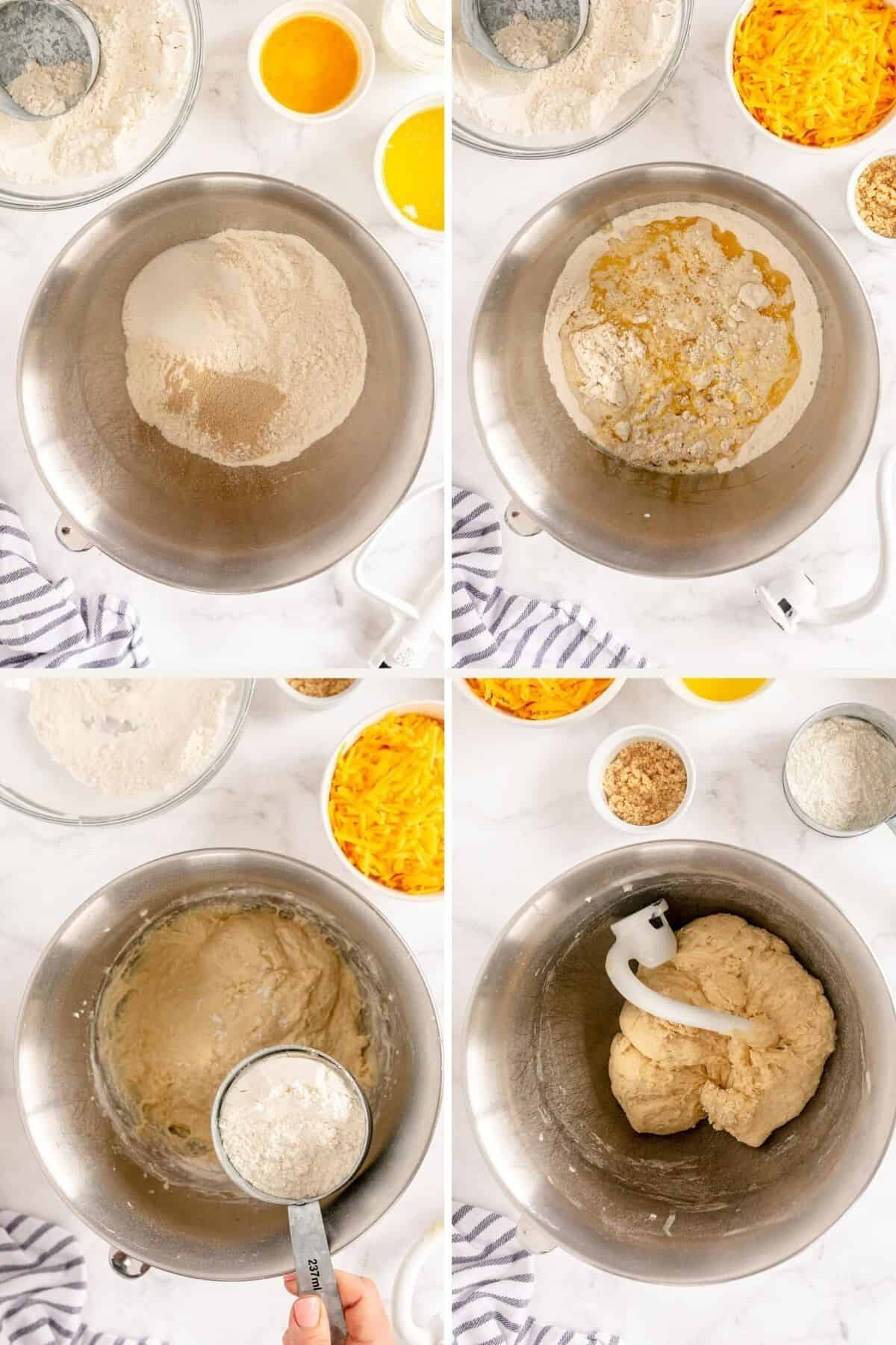 collage showing how to make dough for garlic cheese rolls