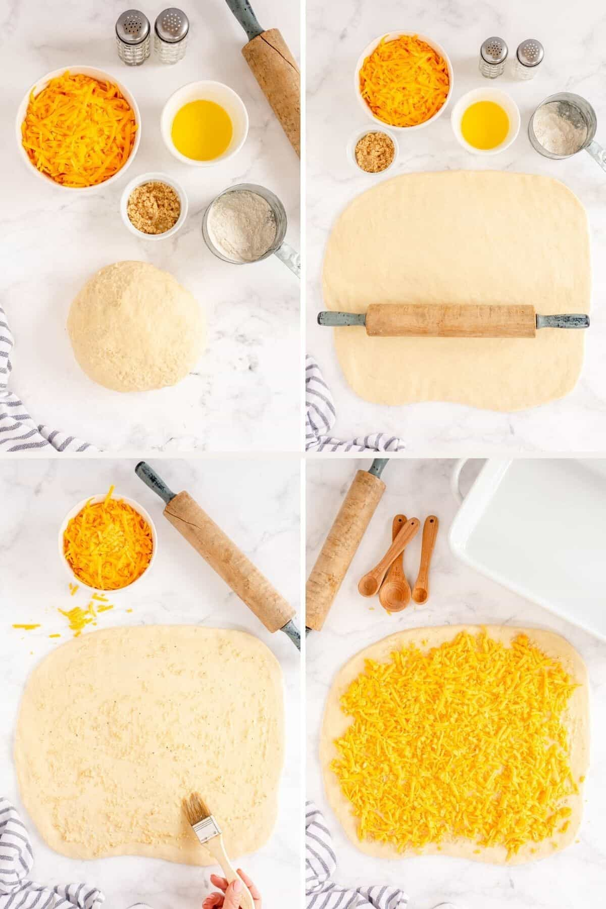 collage showing how to roll and fill the dough for garlic cheese rolls