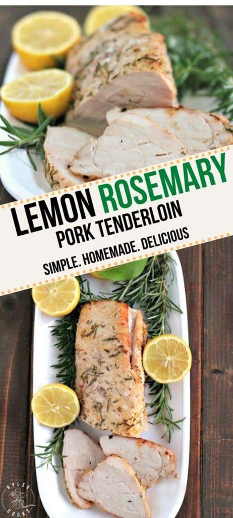 lemon rosemary pork tenderloin pin with text overlay
