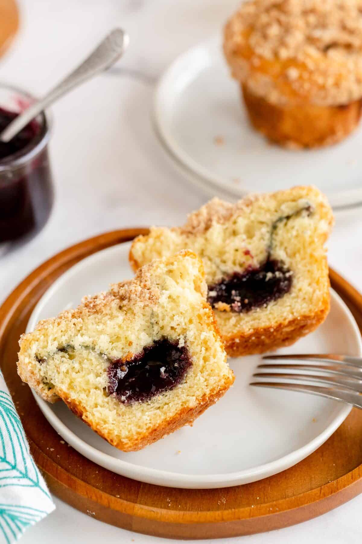 muffins with a jam center cut open