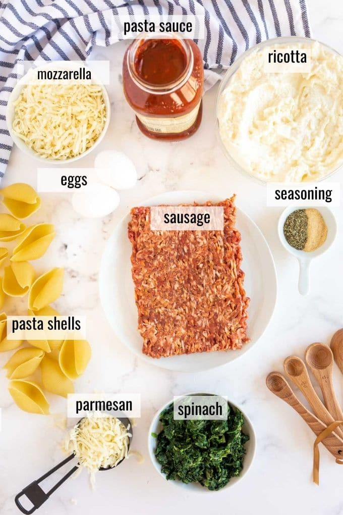 ingredients laid out on a white background, and labeled