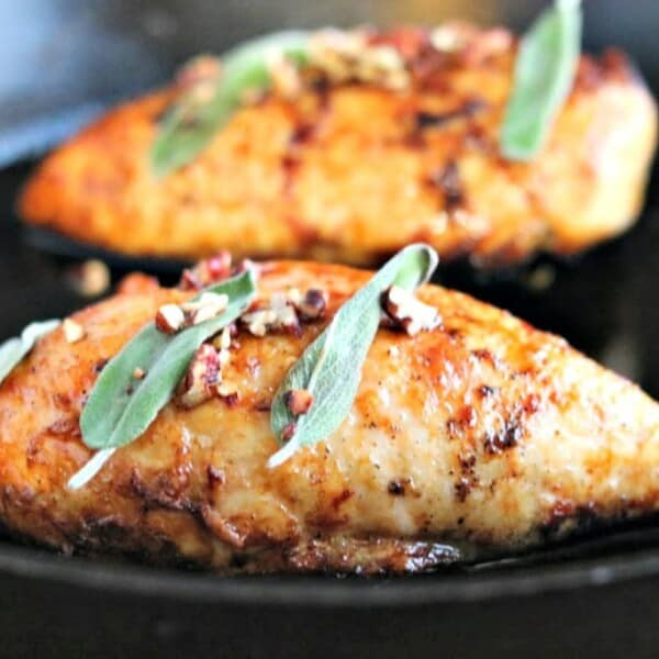 Sweet with a touch of citrus and salt, the flavor of these chicken breasts was outstanding. Topped with some sage and crunchy toasted pecans, we had ourselves a tasty dinner in around 35 minutes.