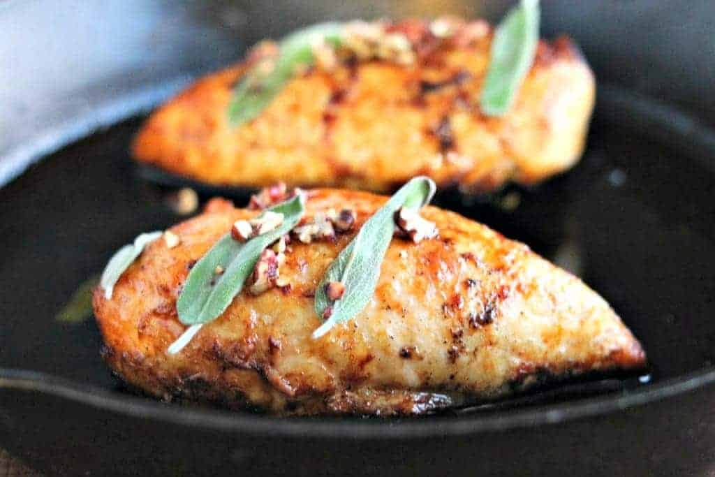 chicken breasts in a cast iton pan