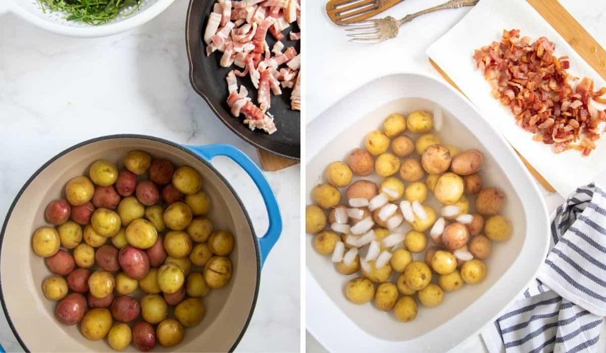 cooking potatoes and bacon for potato salad