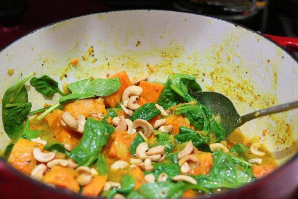 Sweet Potato & Spinach Curry with Cashews
