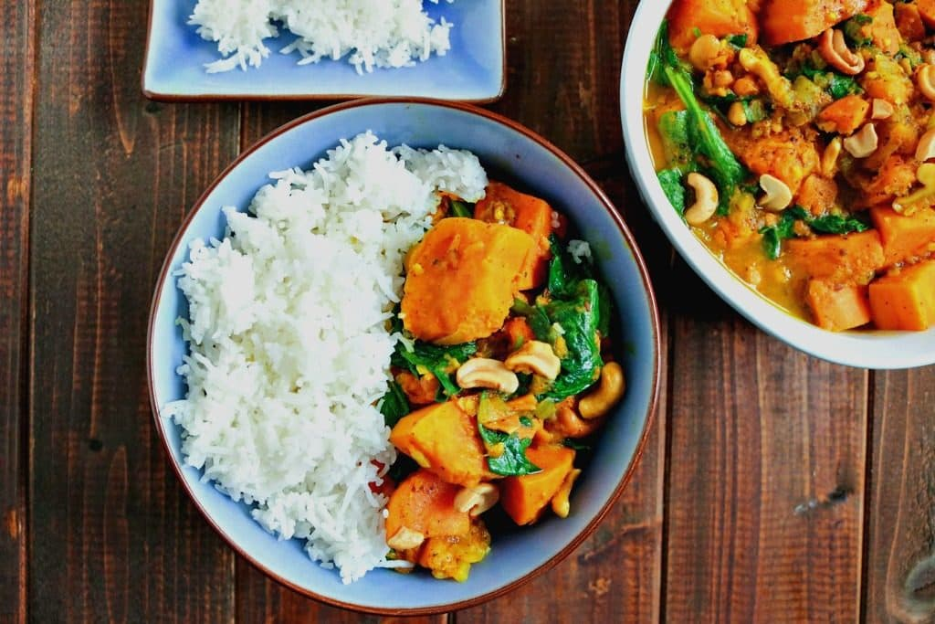 Vegan Sweet Potato & Spinach Curry with Cashews