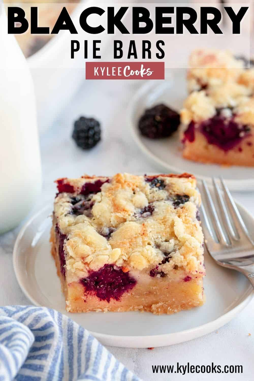 blackberry pie bars on a white plate with recipe title in text overlay