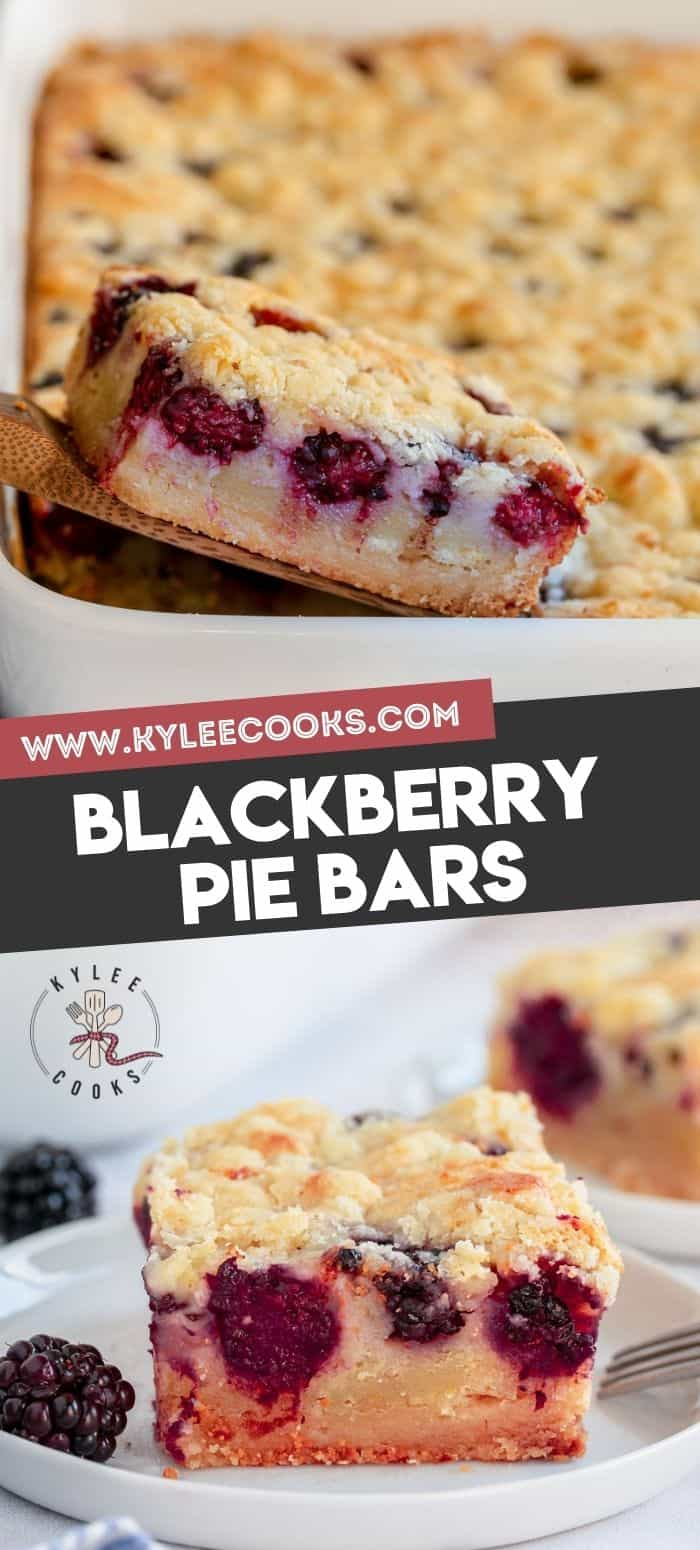 collage of blackberry pie bars with recipe title in text overlay