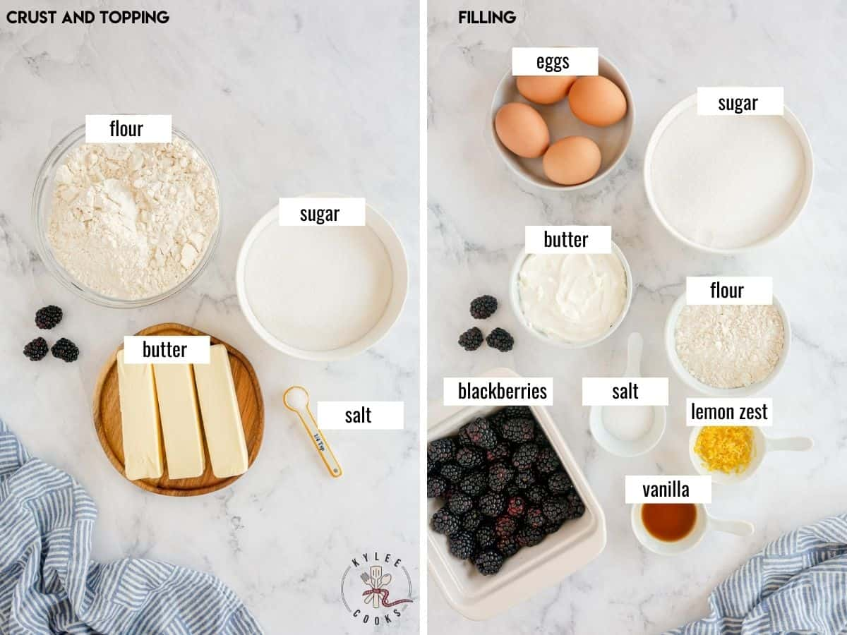 collage of ingredients to make blackberry pie bars
