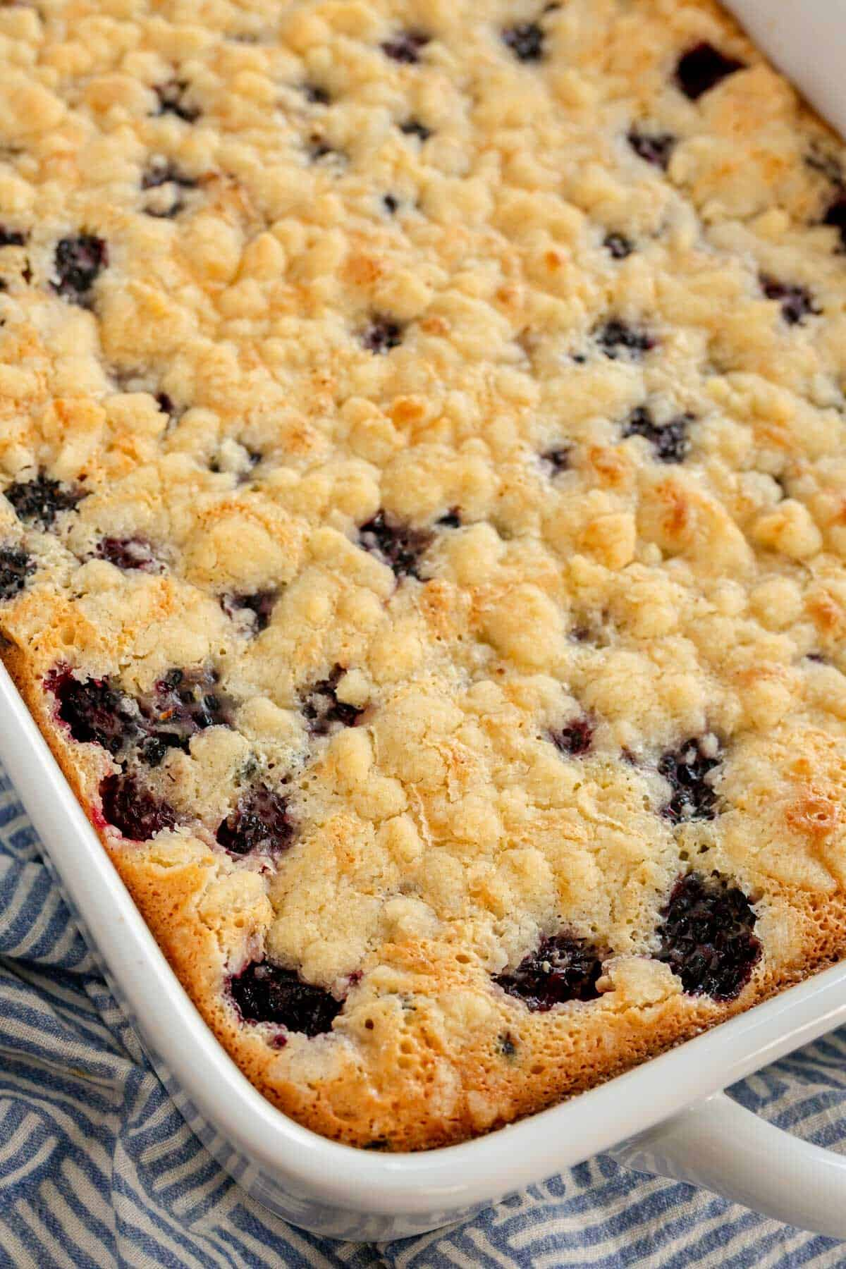 baked blackberry pie bars in a baking dish