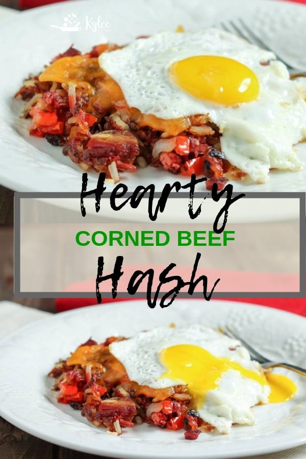 collage of corned beef hash and text overlay of the recipe title