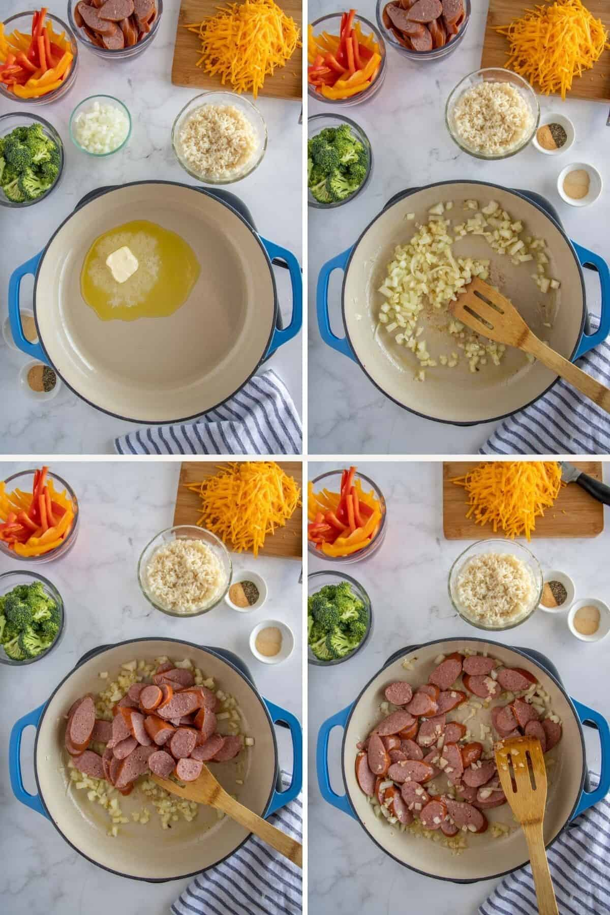 collage showing steps to make sausage and rice