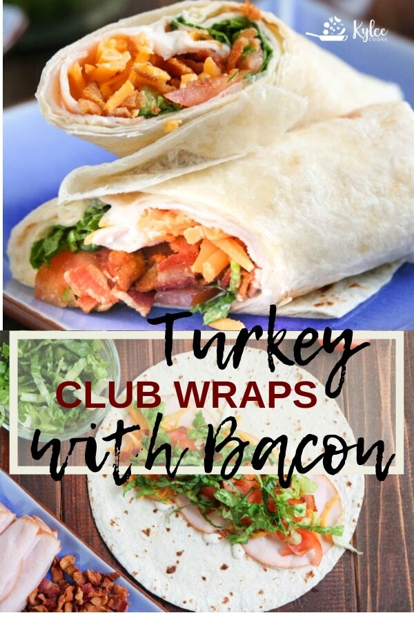 turkey club sandwich wrap collage with recipe title text overlay