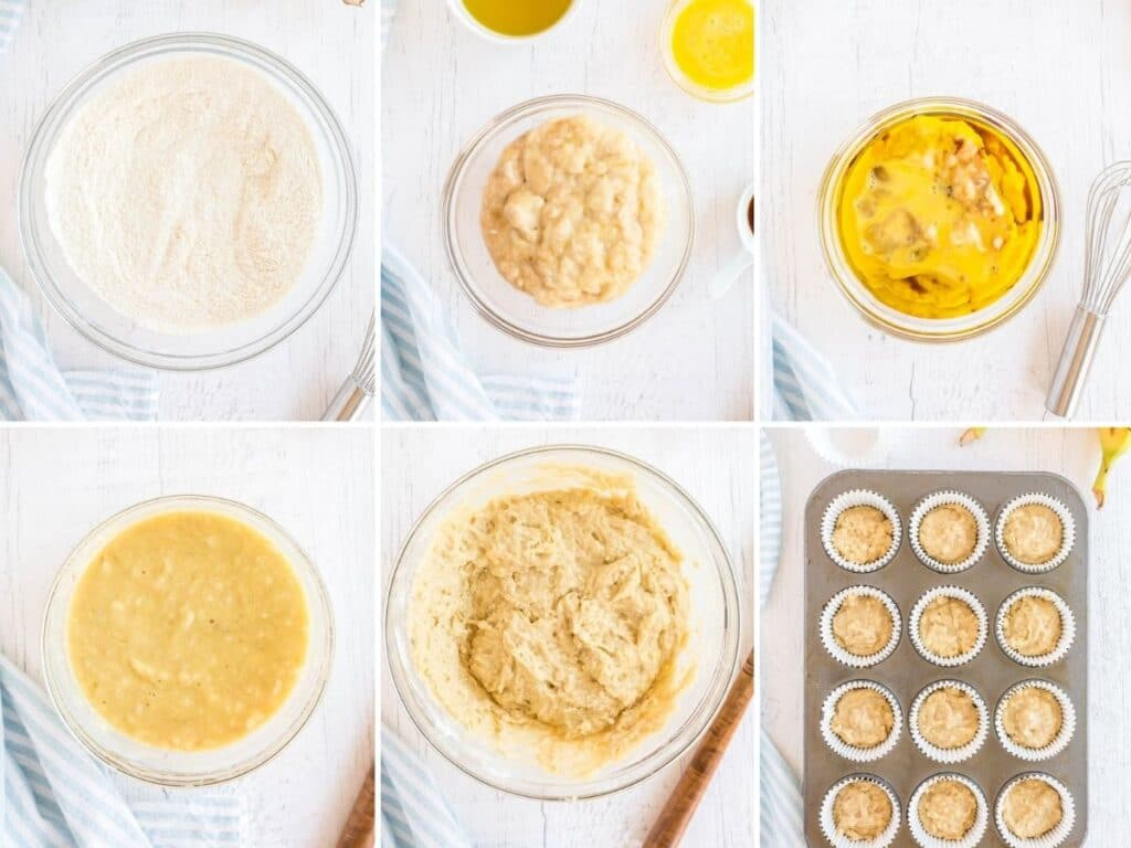 6 process shots showing how to make banana cupcakes