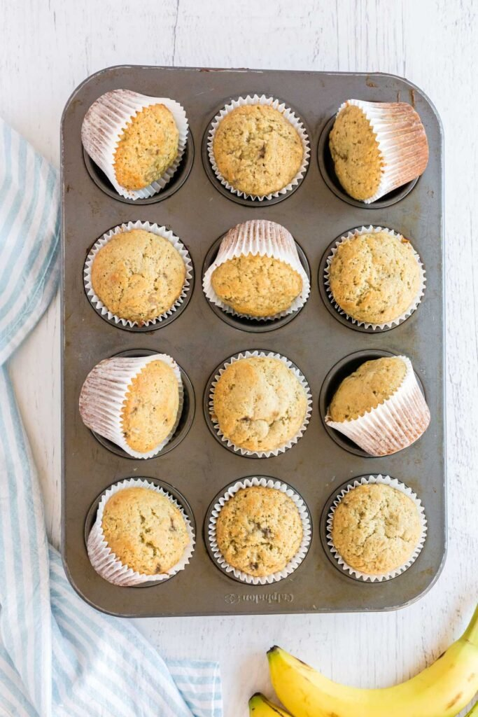 banana cupcakes in a muffin tin