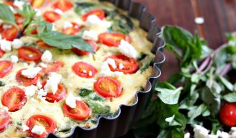 Spinach, Tomato and Feta Crustless Quiche