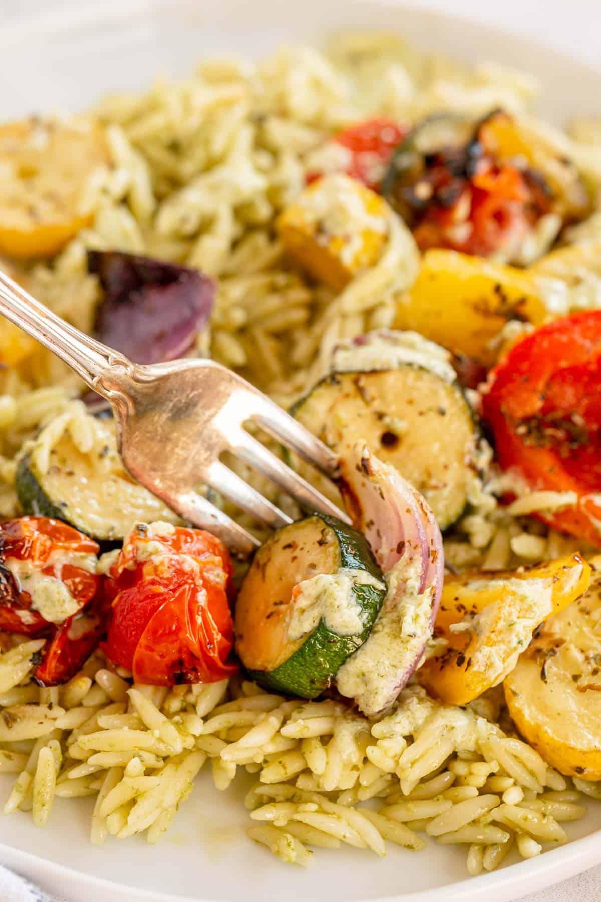 grilled vegetables on a fork