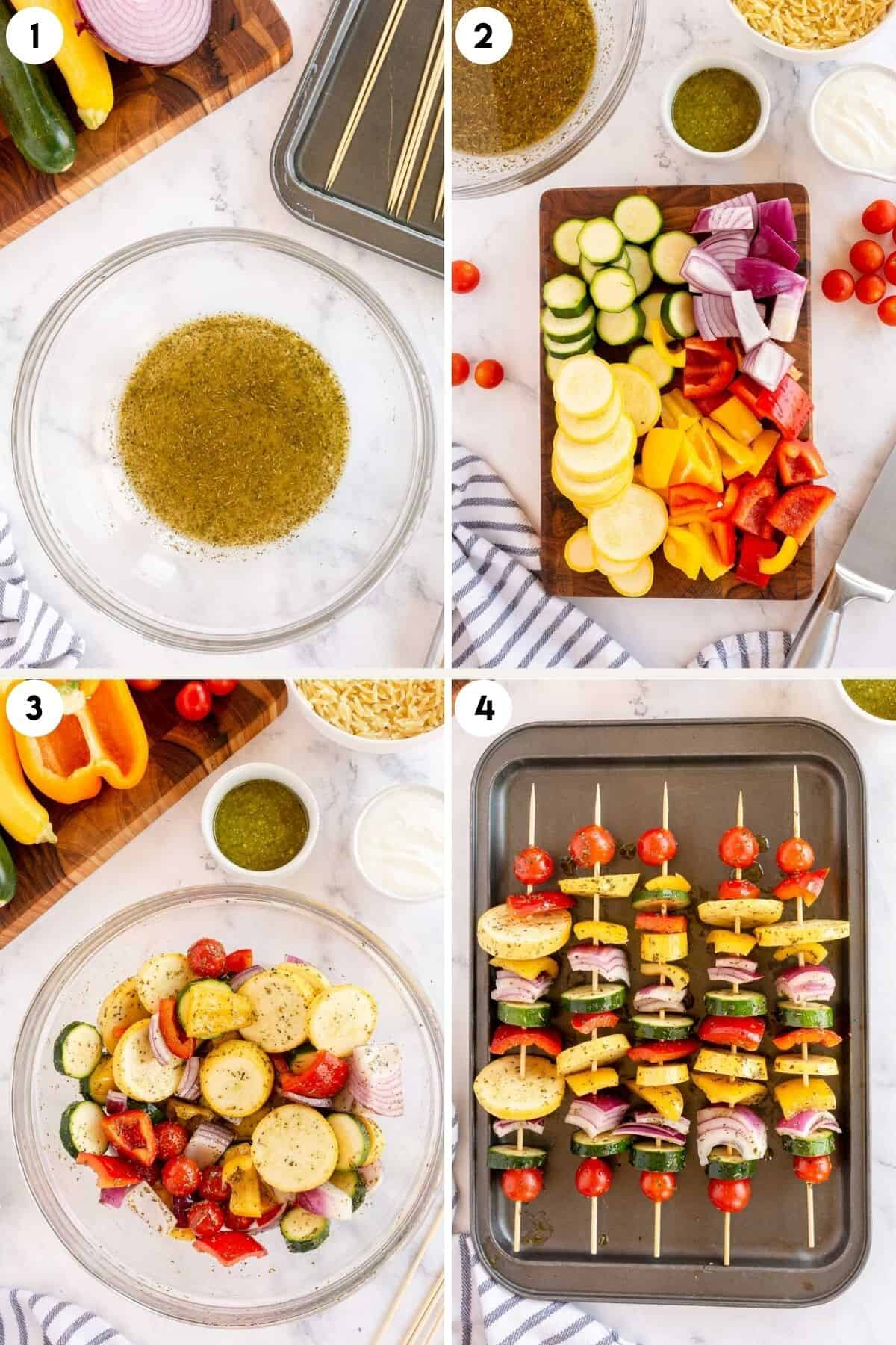 collage of step by step photos for marinating and making veggie kabobs