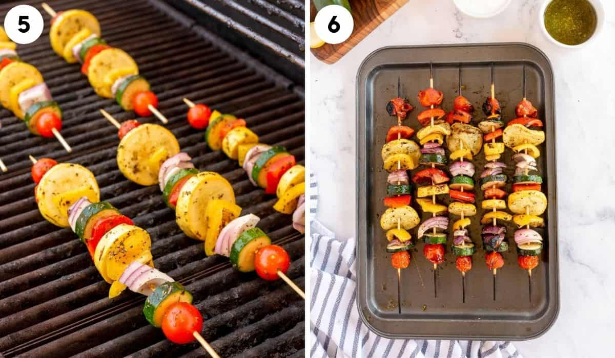 collage of step by step photos for marinating and grilling veggie kabobs