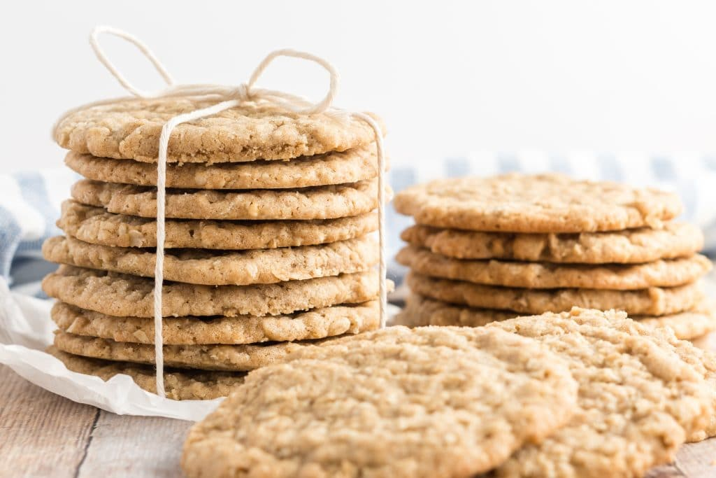 oatmeal cookies stacked and tied with twine