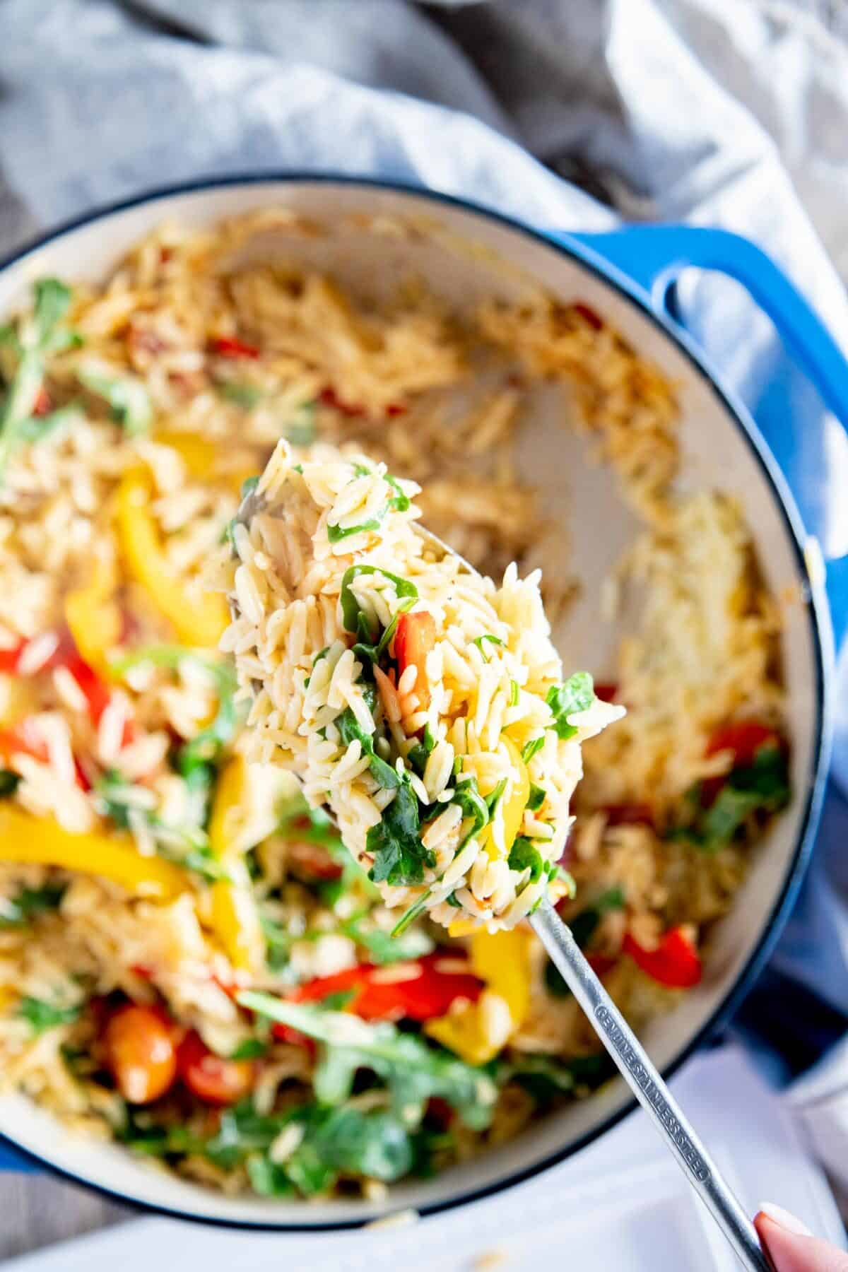spoon full of orzo and vegetables